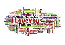 I Love You. A cloud of words of the phrase I love you in different languages, with the more widely spoken translation in bigger fonts Royalty Free Stock Image