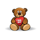 I love you. Teddy bear and big red heart with text I Love You Royalty Free Stock Image