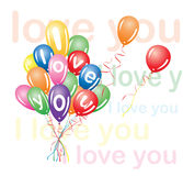 I love you. Balloons that say I love you Royalty Free Stock Image