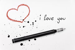 I love you. Red heart, ink pen and spatter with text i love you Royalty Free Stock Images