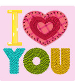 I love you. Fabric applique, with sequins and gems Stock Images