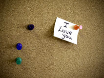 I love you. The words I Love You! written on a bright post-it note in black marker pen Royalty Free Stock Images