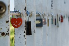 I love you. The set of padlocks on a bridge show indissoluble union of two hearts Royalty Free Stock Image