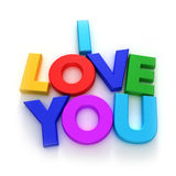 """I Love You. """"I love you"""" words formed with colourful letter magnets on neutral background stock illustration"""