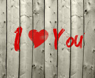 I Love You. Text on wooden planks royalty free stock photo