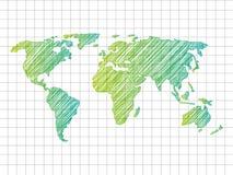 Sketchy World map Stock Photos