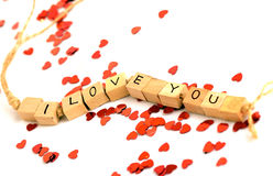 I love you. Wooden blocks with the words i love you written on it Royalty Free Stock Photos