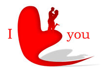 I love you. Illustration: heart with two sweethearts Royalty Free Stock Photography