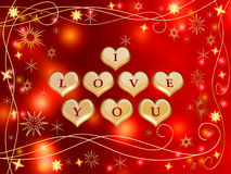 I love you 3. 3d golden hearts, red letters, text - I love you, stars, lights, gleams Royalty Free Stock Photos