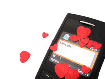 I love you. Cell phone text message saying I love you Stock Image