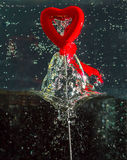 I Love You. Valentine's Heart in Water with Bubbles Royalty Free Stock Photos