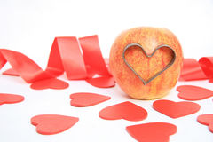 I love you. Apple love with red color hearts background Stock Photo