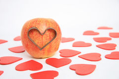 I love you. Apple love with red color hearts background Royalty Free Stock Images