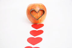 I love you. Apple love with red color hearts background Stock Image