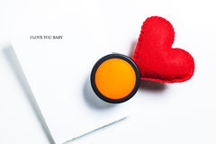 I love you. A papernote with a heart for putting in the wall Stock Photo