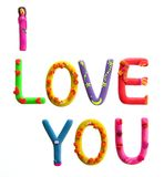 I Love You. Inscription 'I Love You' made from plasticine. Letters looks like different heroes. Child style Stock Images
