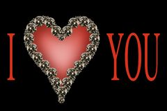 I love you. Written 'I love you' by using several diamonds Royalty Free Stock Photos