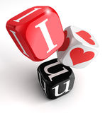 I love you 3d dices Stock Image