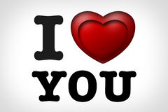 I love You with 3D heart Royalty Free Stock Photography