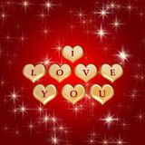 I love you 4. 3d golden hearts, red letters, text - I love you, stars Royalty Free Stock Photos
