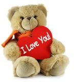 I Love You. Teddy bear and big red heart with text I Love You Stock Images