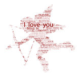 I love you. Illustration of Cupido,  god of love, with I love You in alla languages of th world Royalty Free Stock Images