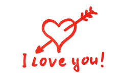 I love you. Handwritten red heart penetrated with arrow and I love you! text royalty free illustration