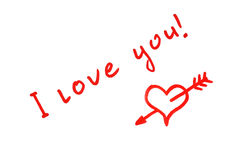 I love you. Handwritten red heart penetrated with arrow and I love you! text stock illustration