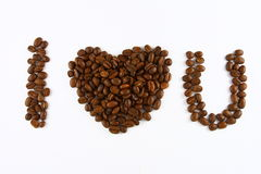I love You. Formed by coffee beans Stock Photography