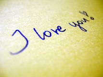 I love you. Handwritten text I love you Stock Photo