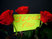 I love you. Roses with handwritten card Royalty Free Stock Images