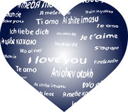 I love you. Heart with the words I love you in different languages stock illustration