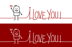 I love you !. Vector hand-drawn characters on line Royalty Free Stock Image