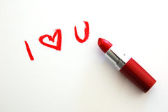 I Love You. I  U written with lipstick Royalty Free Stock Images