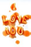 I Love You. Alphabet spaghetti arranged to say I love You Stock Photo