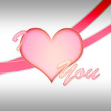 I Love you. A shiny heart that can be used on postcard or in valentine day Royalty Free Stock Images