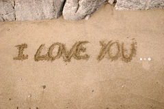 I love you. Drawing on the sand - I love you Royalty Free Stock Photos