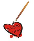 I Love You. Written with brush royalty free illustration