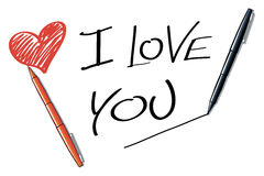 I love you. This illustration shows a heart, the words I love you and two markers and write all Royalty Free Stock Photo