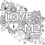 I love you. Abstract background made of flowers, keys and loc, butterflies, and the word love. Coloring book for adult. Abstract background of flowers royalty free illustration