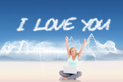 I love you against energy design over landscape Stock Image