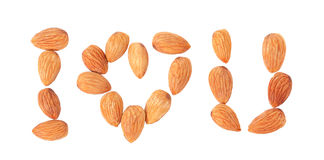 Free I Love You (Almonds Nuts In Shape Of Massage) On White Royalty Free Stock Photo - 50221475