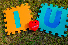 I love you alphabet with red heart Royalty Free Stock Image