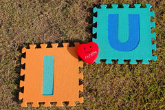 I love you alphabet with red heart Royalty Free Stock Photography