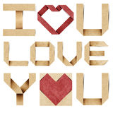 I love you alphabet and red heart recycled paper Royalty Free Stock Photos