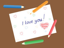 I love you also the heart drawn with a pencil on paper Stock Photos