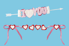I love you arrow with hearts and loop Royalty Free Stock Image