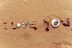 I love you. An assortment of shells and seaweed in the sand, spelling out `I Love You Stock Photography
