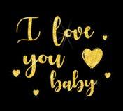 I love you baby .Glitter font lettering. royalty free illustration