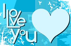 I love you background in blue with floral fantasy Royalty Free Stock Photo